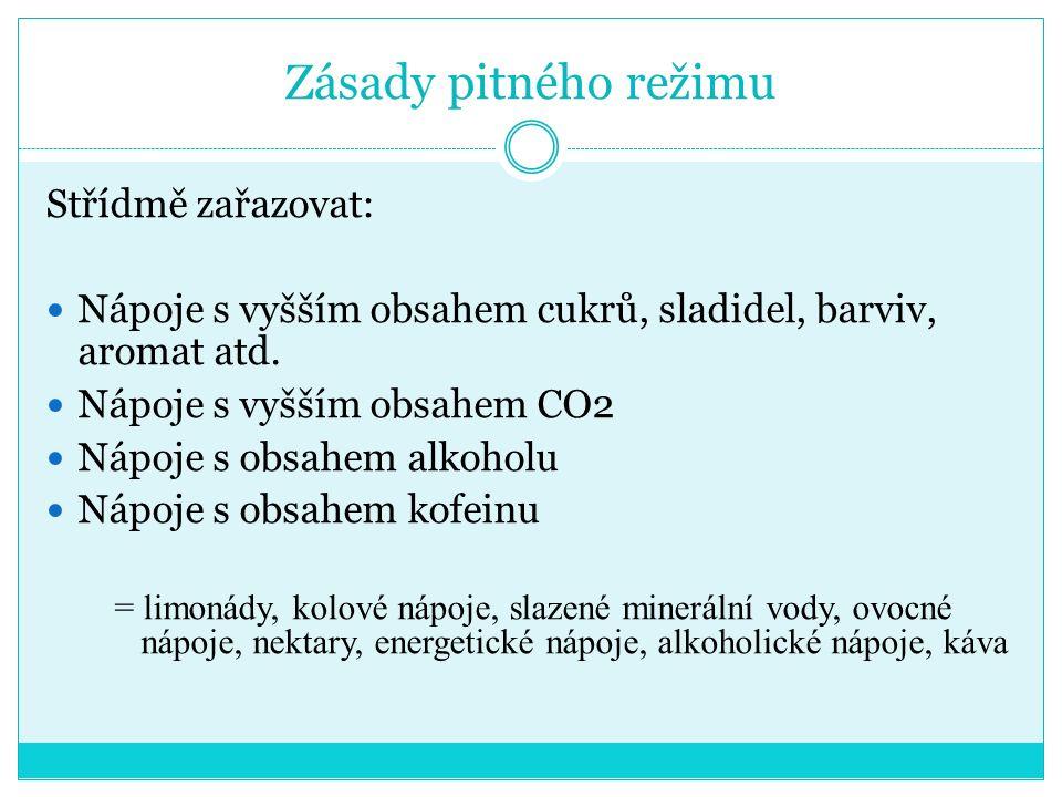 Zásady pitného režimu Střídmě zařazovat: