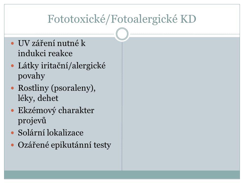 Fototoxické/Fotoalergické KD