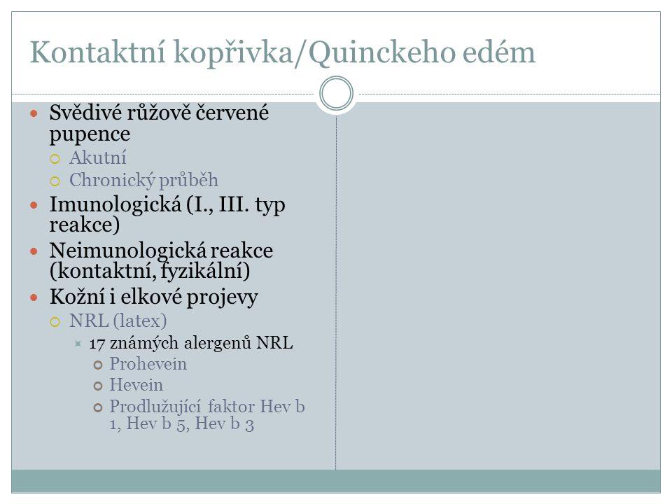 Kontaktní kopřivka/Quinckeho edém