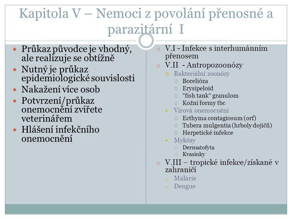 Kapitola V – Nemoci z povolání přenosné a parazitární I