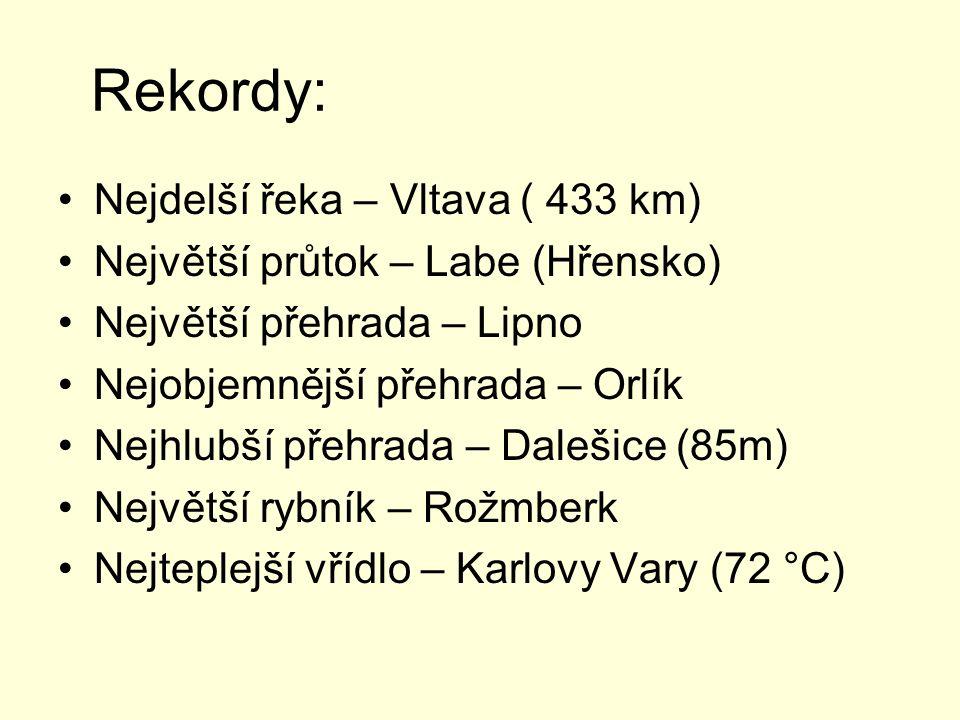 Rekordy: Nejdelší řeka – Vltava ( 433 km)