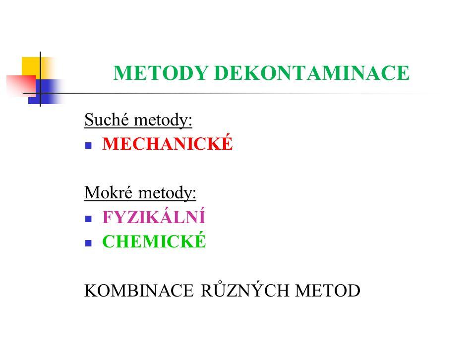 METODY DEKONTAMINACE Suché metody: MECHANICKÉ Mokré metody: FYZIKÁLNÍ