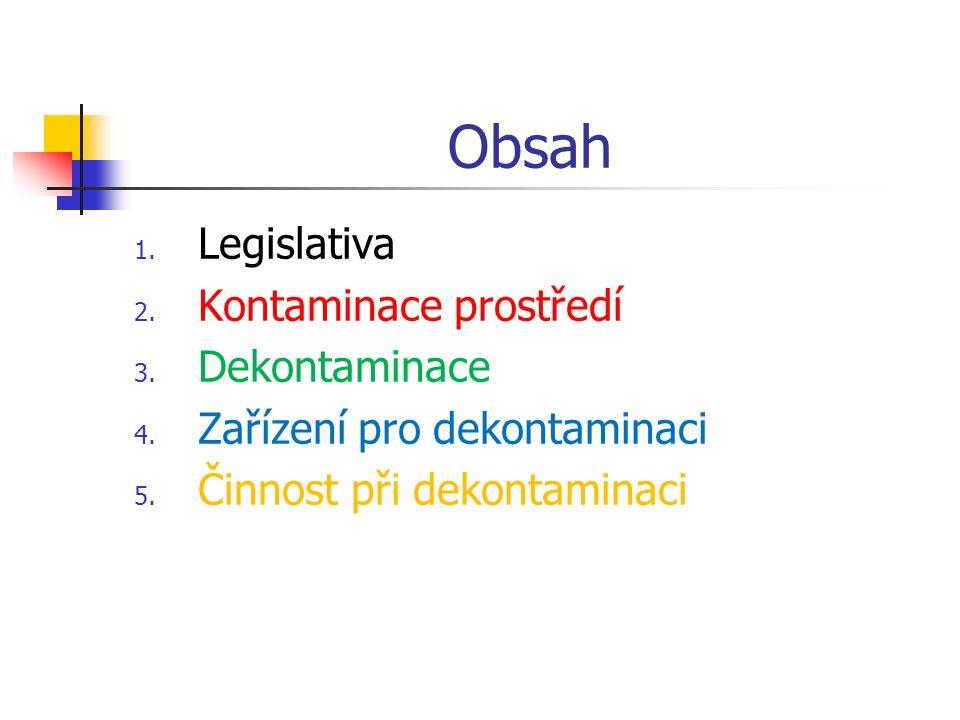 Obsah Legislativa Kontaminace prostředí Dekontaminace
