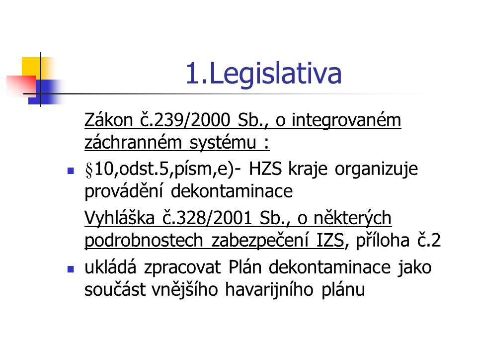 1.Legislativa Zákon č.239/2000 Sb., o integrovaném záchranném systému : §10,odst.5,písm,e)- HZS kraje organizuje provádění dekontaminace.
