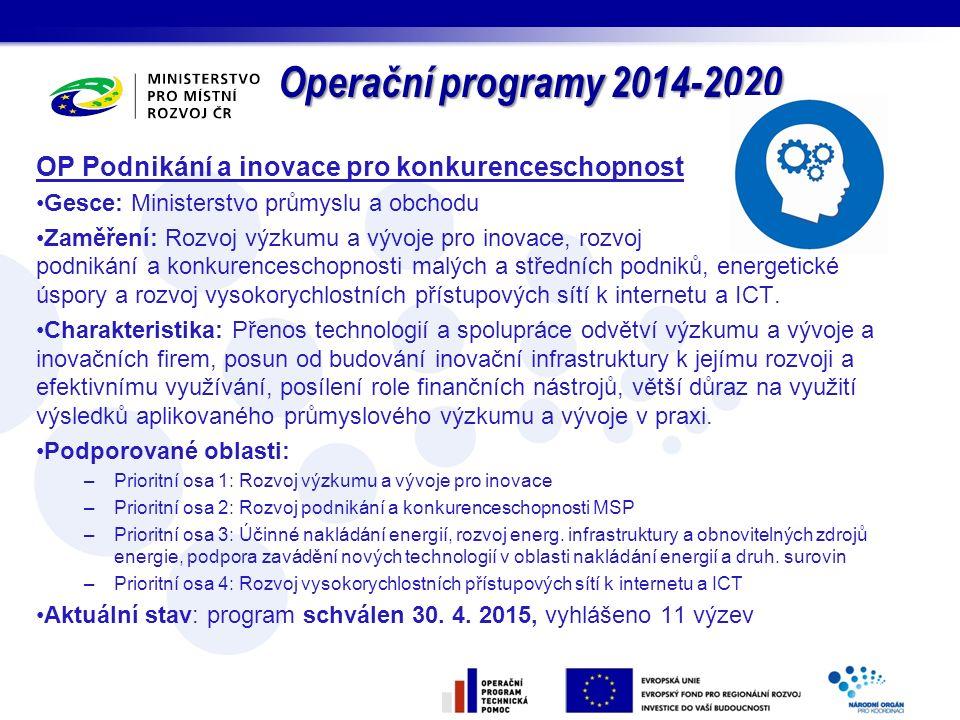 Operační programy 2014-2020 OP Podnikání a inovace pro konkurenceschopnost. Gesce: Ministerstvo průmyslu a obchodu.
