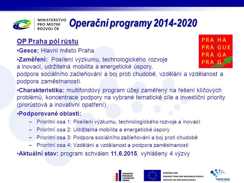 Operační programy 2014-2020 OP Praha pól růstu