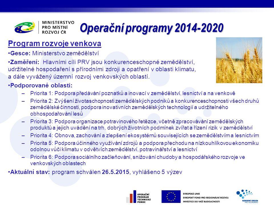 Operační programy 2014-2020 Program rozvoje venkova