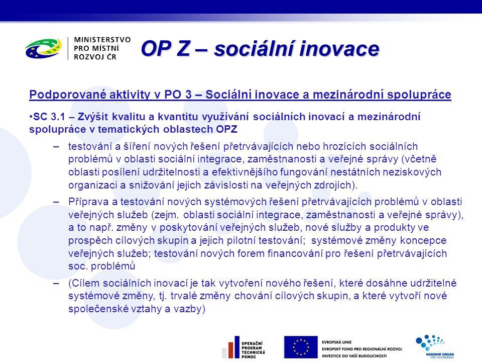 OP Z – sociální inovace Podporované aktivity v PO 3 – Sociální inovace a mezinárodní spolupráce.