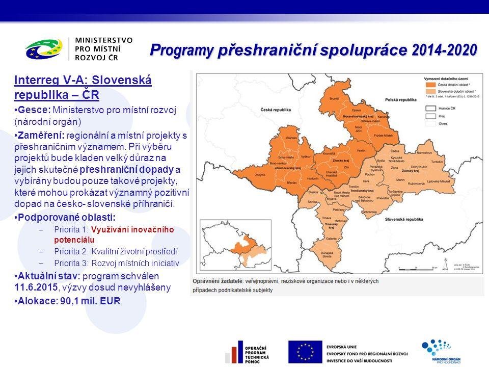 Programy přeshraniční spolupráce 2014-2020