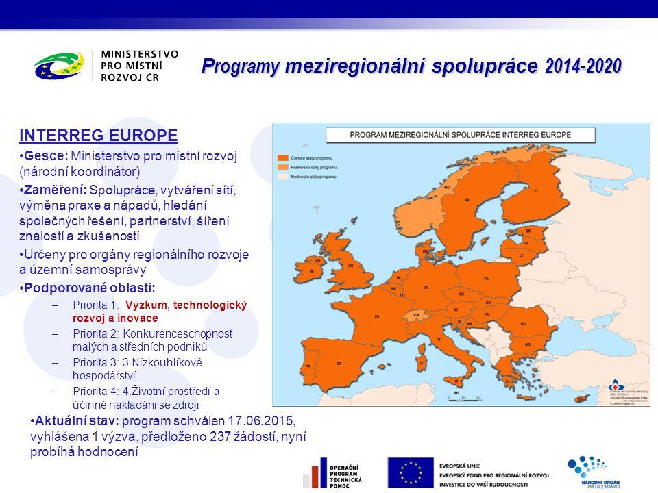 Programy meziregionální spolupráce 2014-2020