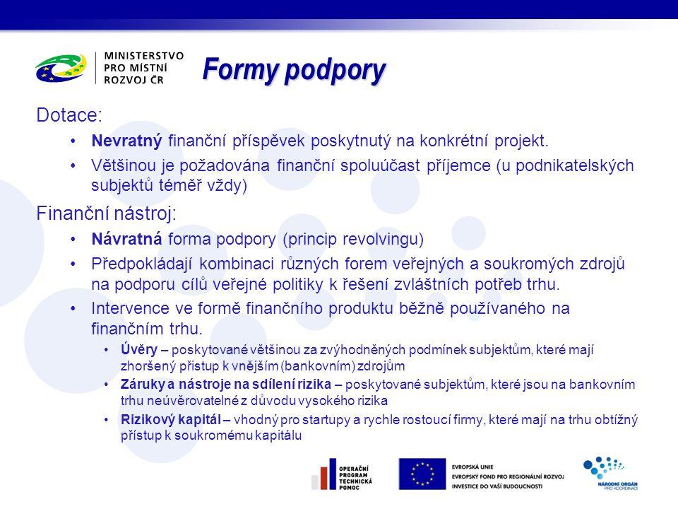 Formy podpory Dotace: Finanční nástroj: