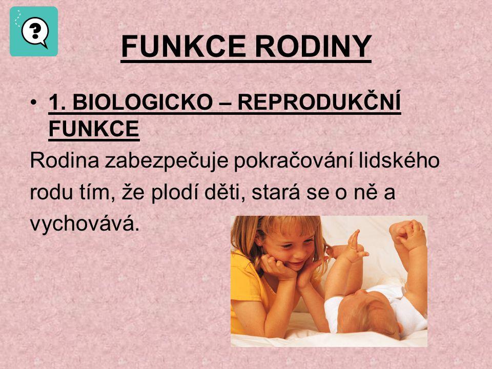 FUNKCE RODINY 1. BIOLOGICKO – REPRODUKČNÍ FUNKCE
