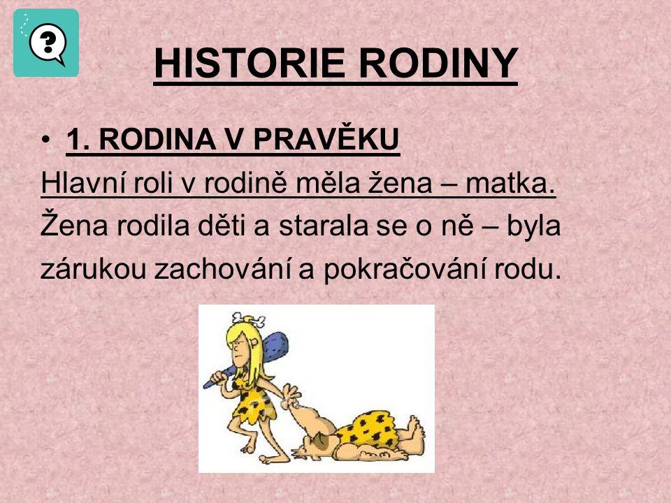 HISTORIE RODINY 1. RODINA V PRAVĚKU