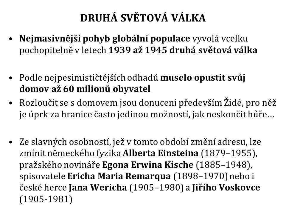 DRUHÁ SVĚTOVÁ VÁLKA Nejmasivnější pohyb globální populace vyvolá vcelku pochopitelně v letech 1939 až 1945 druhá světová válka.
