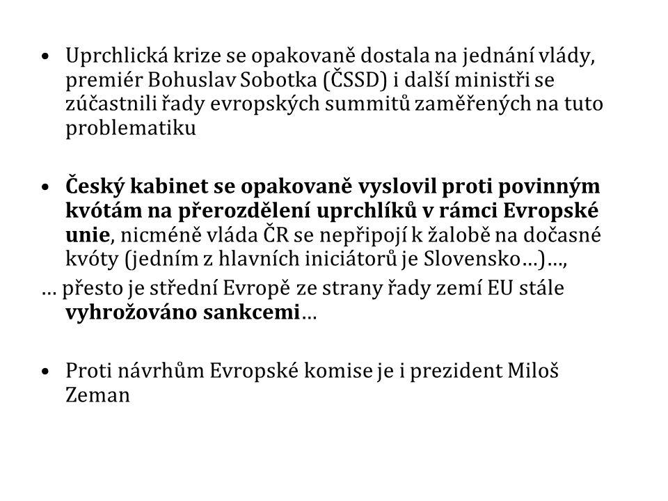 Uprchlická krize se opakovaně dostala na jednání vlády, premiér Bohuslav Sobotka (ČSSD) i další ministři se zúčastnili řady evropských summitů zaměřených na tuto problematiku