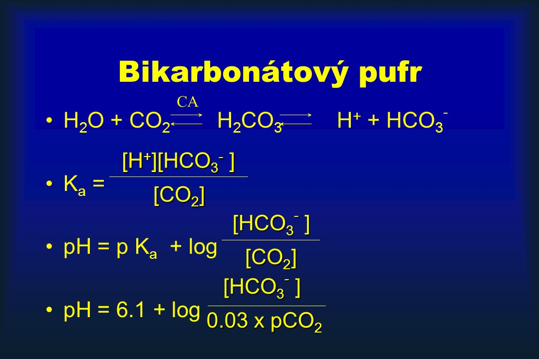 Bikarbonátový pufr H2O + CO2 H2CO3 H+ + HCO3- Ka = pH = p Ka + log