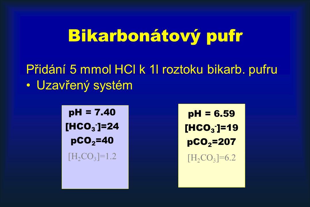 Bikarbonátový pufr Přidání 5 mmol HCl k 1l roztoku bikarb. pufru