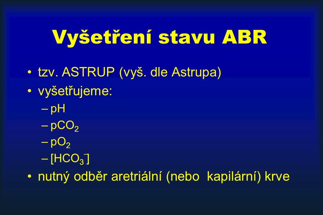 Vyšetření stavu ABR tzv. ASTRUP (vyš. dle Astrupa) vyšetřujeme: