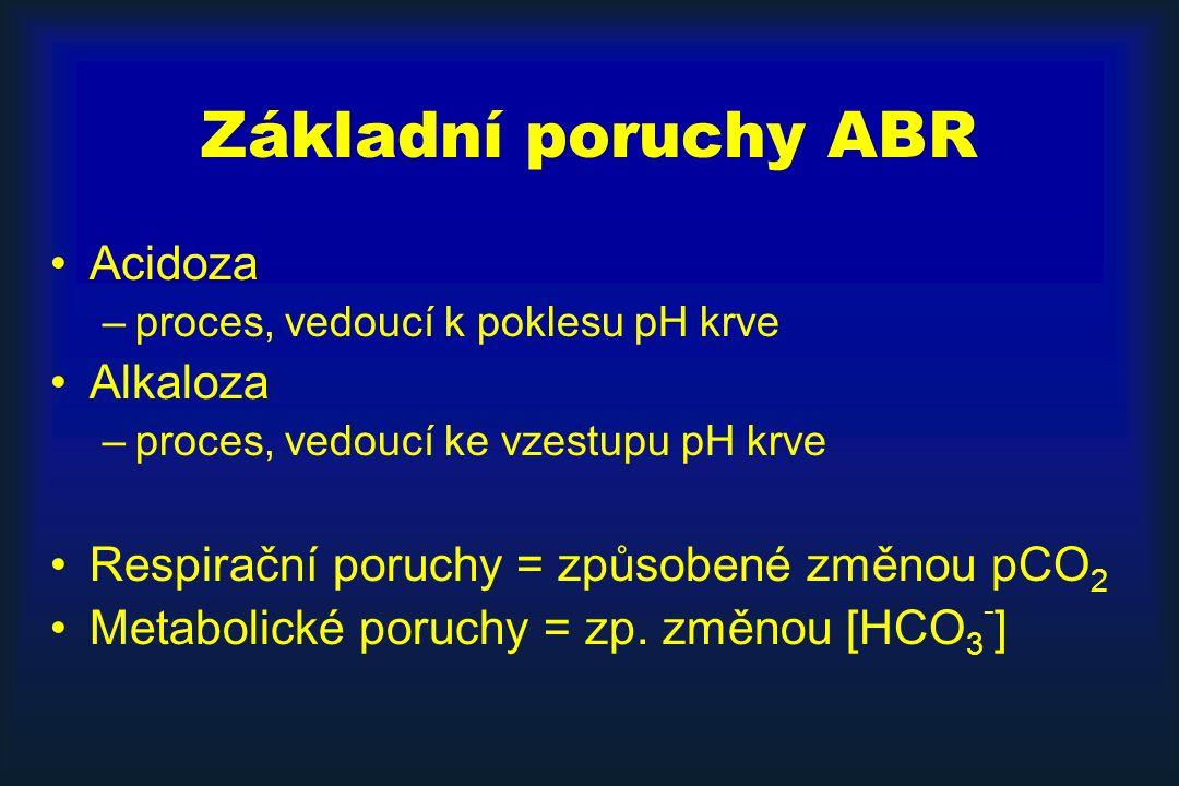 Základní poruchy ABR Acidoza Alkaloza