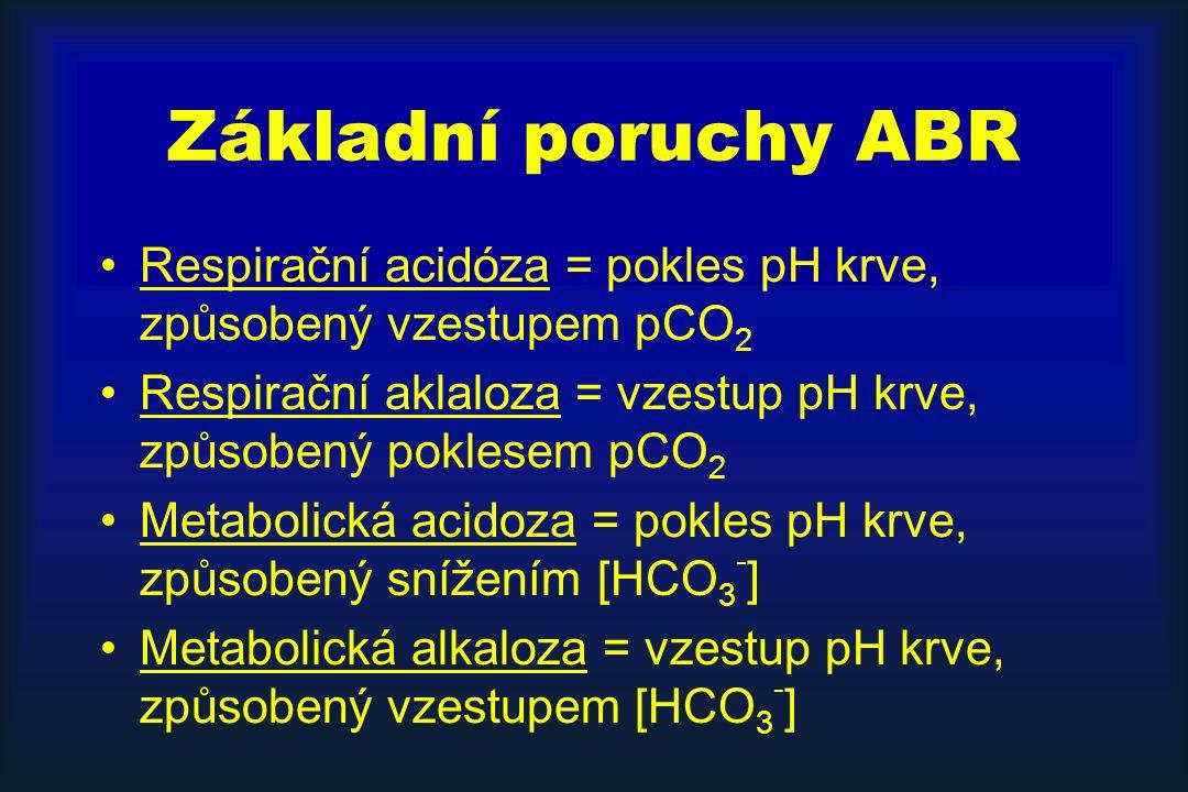 Základní poruchy ABR Respirační acidóza = pokles pH krve, způsobený vzestupem pCO2. Respirační aklaloza = vzestup pH krve, způsobený poklesem pCO2.