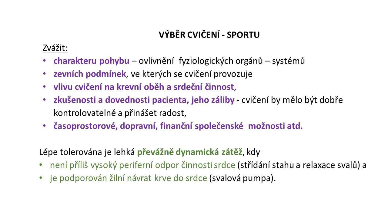 VÝBĚR CVIČENÍ - SPORTU Zvážit: charakteru pohybu – ovlivnění fyziologických orgánů – systémů. zevních podmínek, ve kterých se cvičení provozuje.