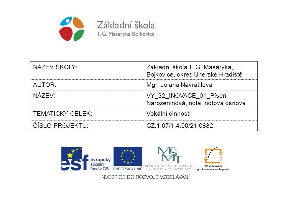 NÁZEV ŠKOLY: Základní škola T. G. Masaryka, Bojkovice, okres Uherské Hradiště. AUTOR: Mgr. Jolana Navrátilová.