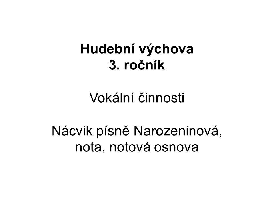 Hudební výchova 3. ročník Vokální činnosti Nácvik písně Narozeninová, nota, notová osnova
