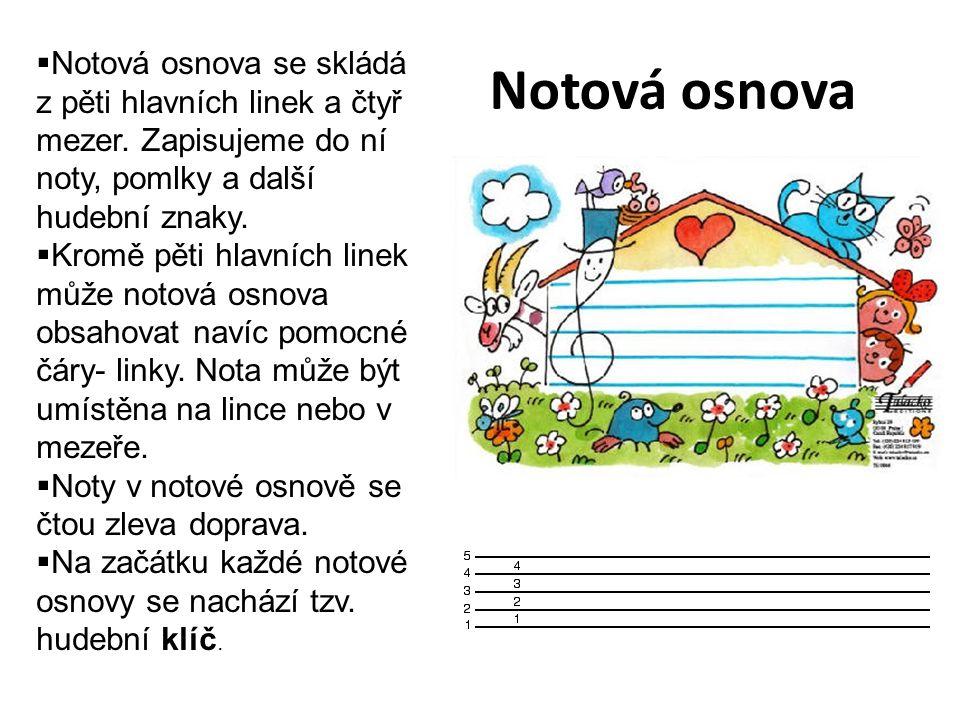 Notová osnova Notová osnova se skládá z pěti hlavních linek a čtyř mezer. Zapisujeme do ní noty, pomlky a další hudební znaky.