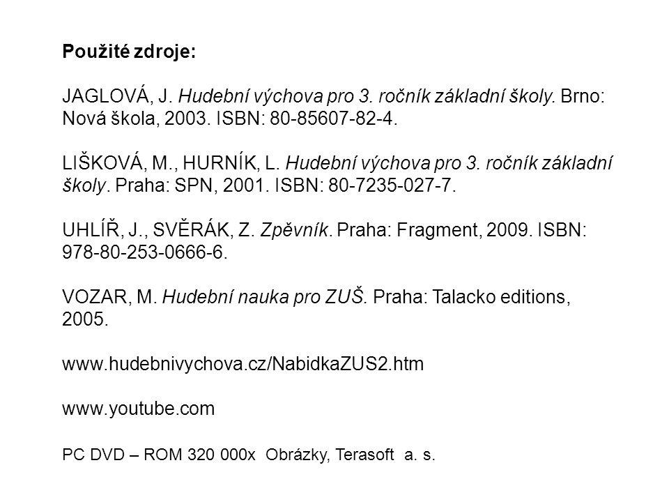 VOZAR, M. Hudební nauka pro ZUŠ. Praha: Talacko editions, 2005.
