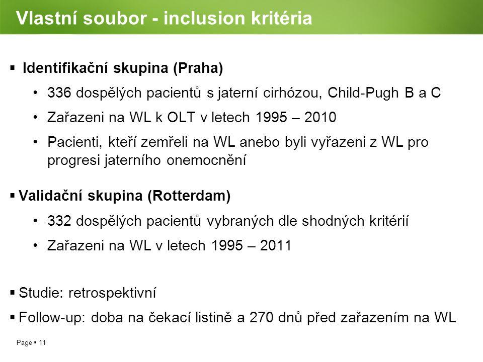 Vlastní soubor - inclusion kritéria
