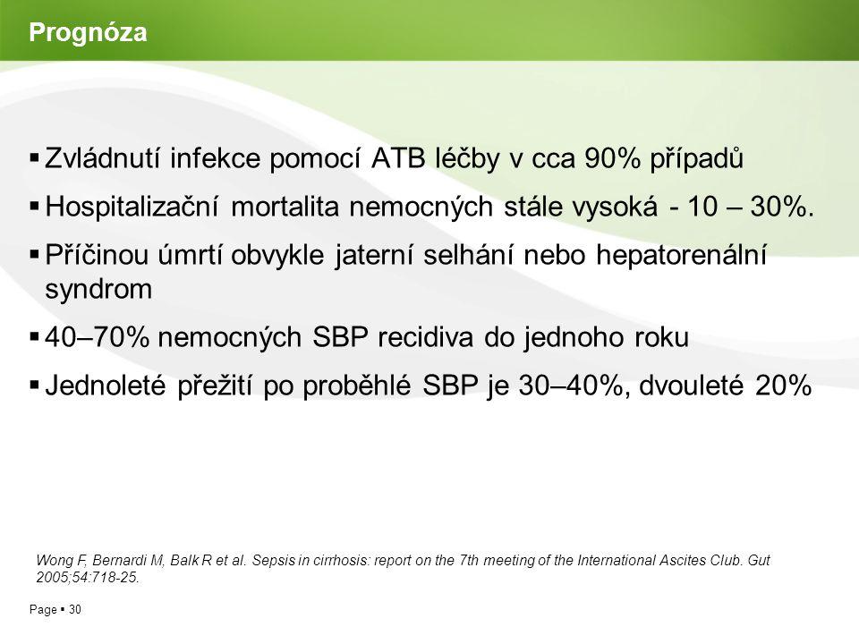 Zvládnutí infekce pomocí ATB léčby v cca 90% případů