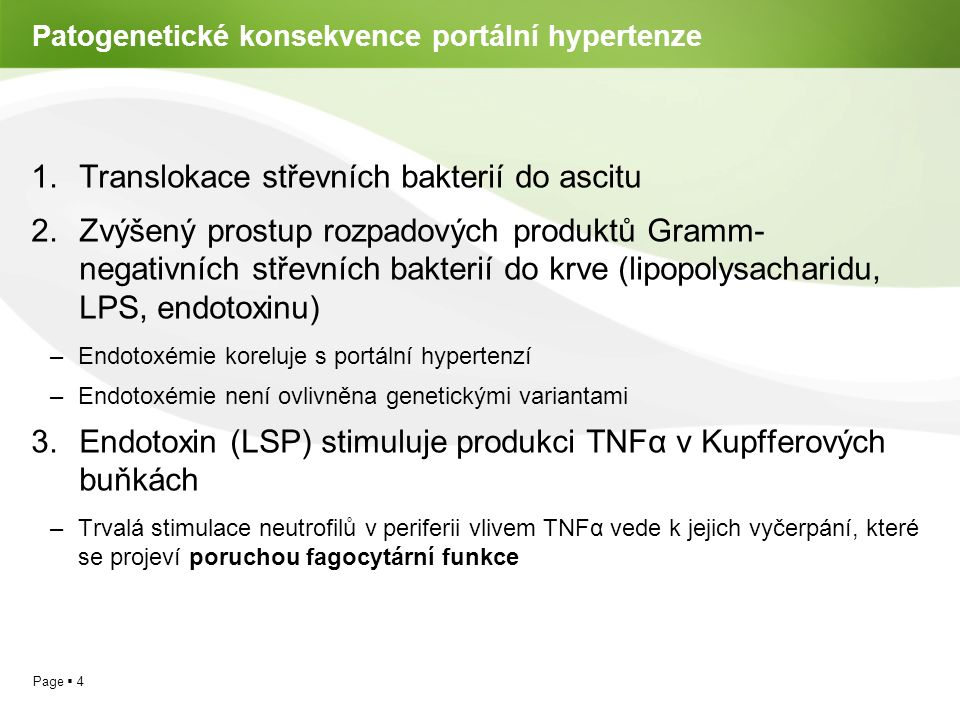 Patogenetické konsekvence portální hypertenze