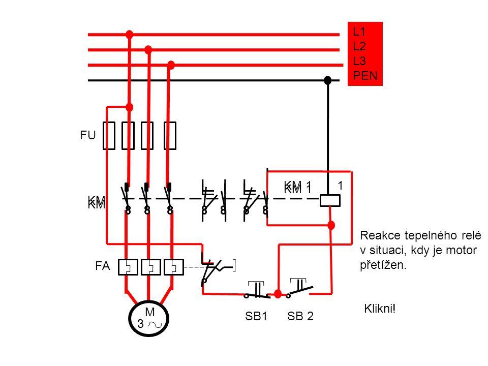 L1 L2. L3. PEN. FU. KM. KM 1. KM. KM 1. 1. Reakce tepelného relé. v situaci, kdy je motor.