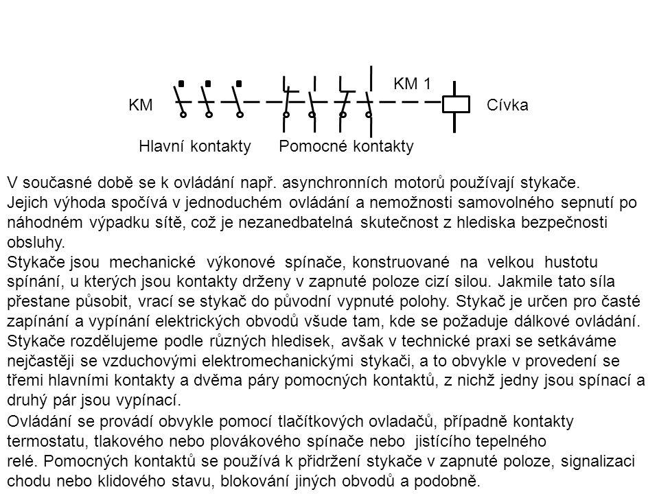 KM KM 1. Cívka. Hlavní kontakty Pomocné kontakty. V současné době se k ovládání např. asynchronních motorů používají stykače.