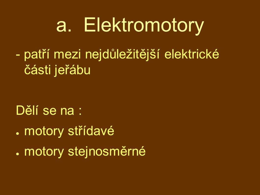 a. Elektromotory - patří mezi nejdůležitější elektrické části jeřábu