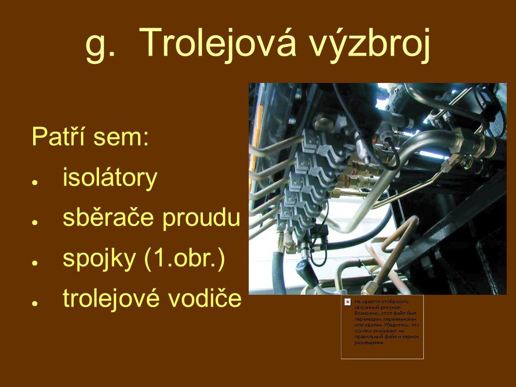 g. Trolejová výzbroj Patří sem: isolátory sběrače proudu