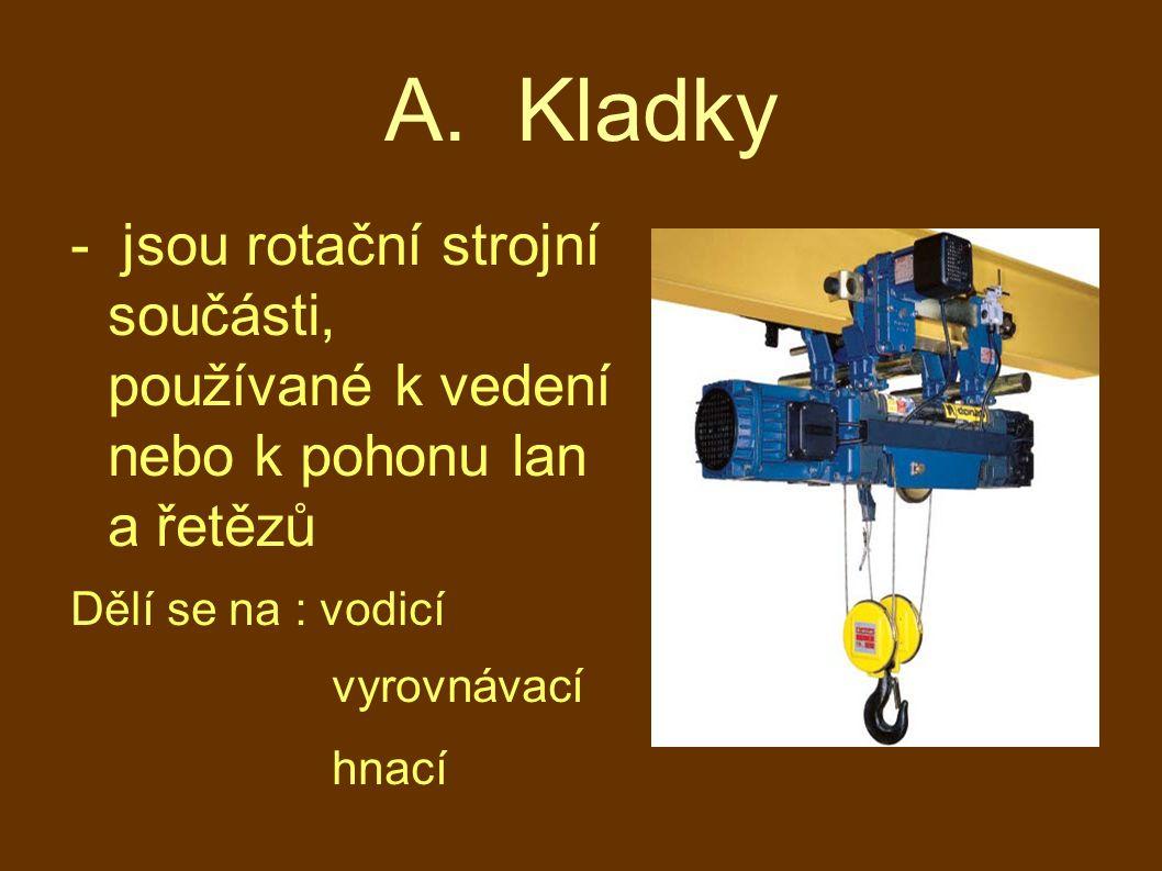 A. Kladky - jsou rotační strojní součásti, používané k vedení nebo k pohonu lan a řetězů. Dělí se na : vodicí.