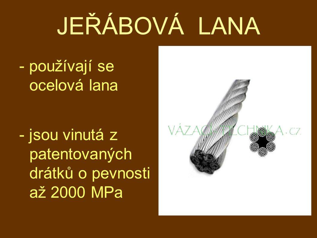 JEŘÁBOVÁ LANA - používají se ocelová lana