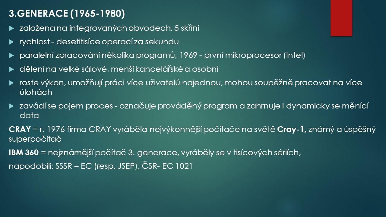 3.GENERACE (1965-1980) založena na integrovaných obvodech, 5 skříní