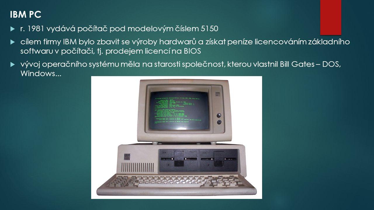 IBM PC r. 1981 vydává počítač pod modelovým číslem 5150