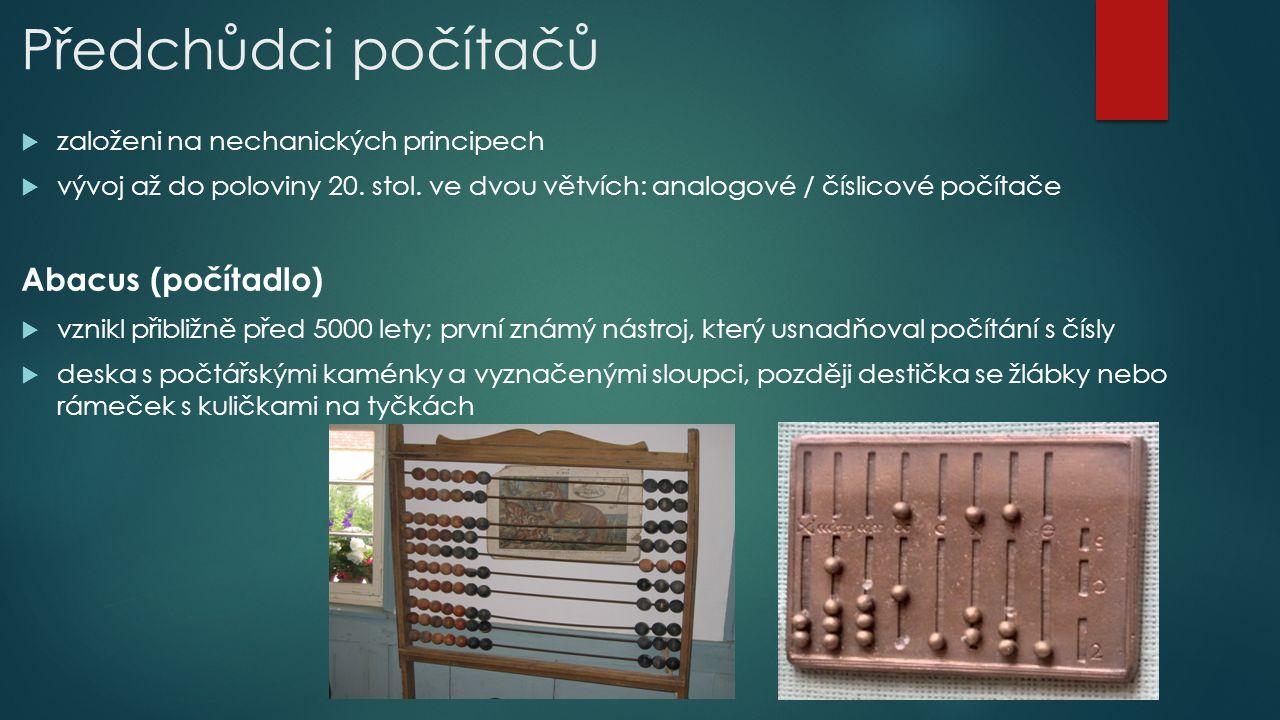 Předchůdci počítačů Abacus (počítadlo)