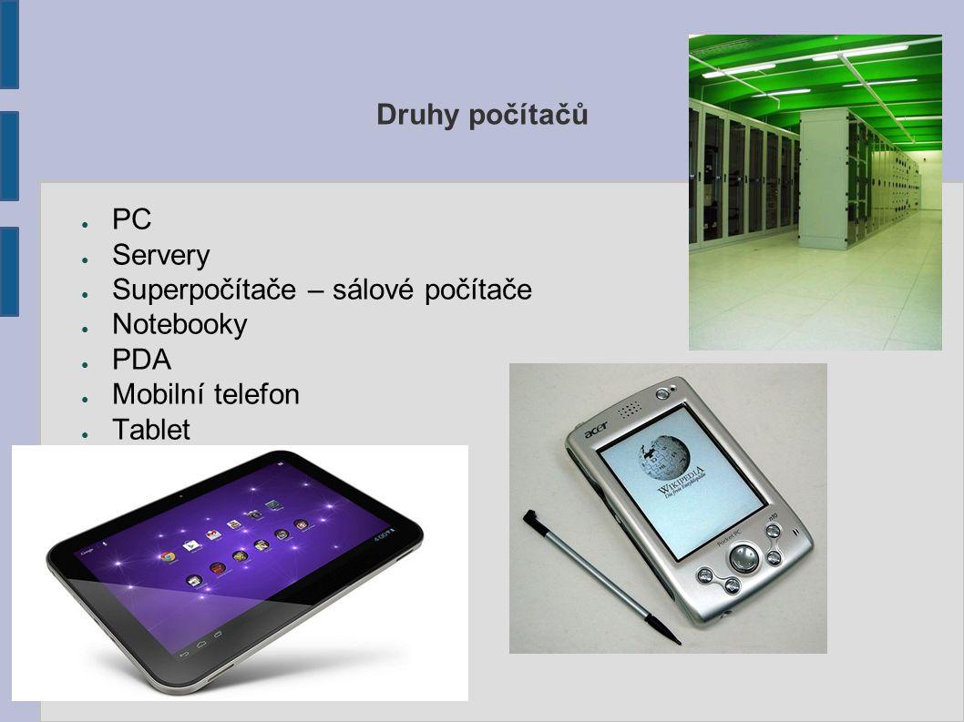 Druhy počítačů PC Servery Superpočítače – sálové počítače Notebooky PDA Mobilní telefon Tablet