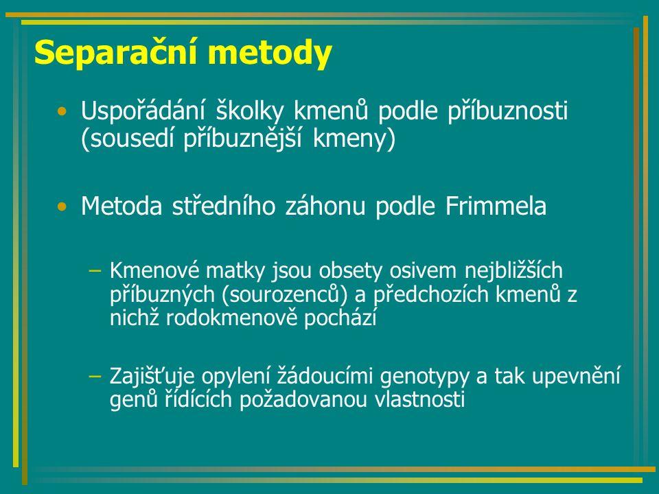 Separační metody Uspořádání školky kmenů podle příbuznosti (sousedí příbuznější kmeny) Metoda středního záhonu podle Frimmela.