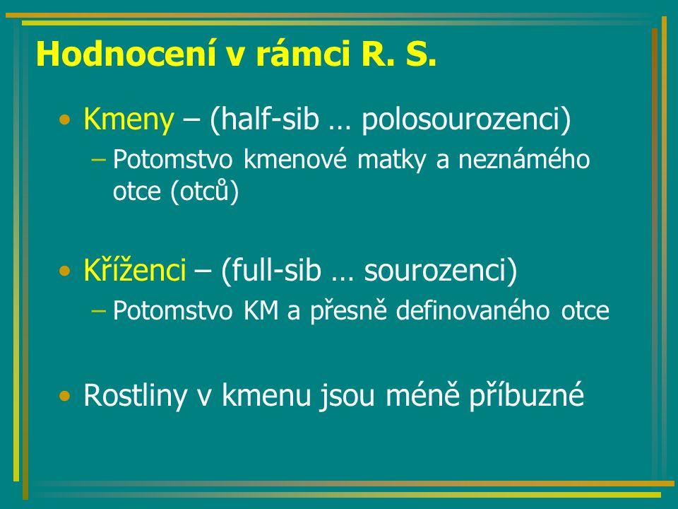 Hodnocení v rámci R. S. Kmeny – (half-sib … polosourozenci)