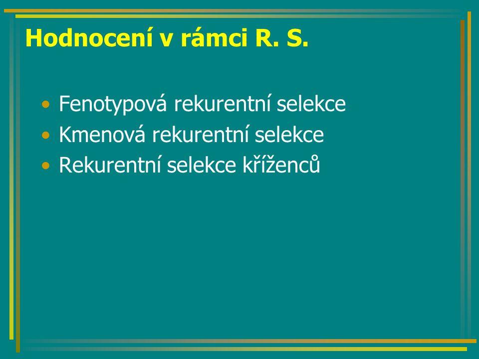 Hodnocení v rámci R. S. Fenotypová rekurentní selekce