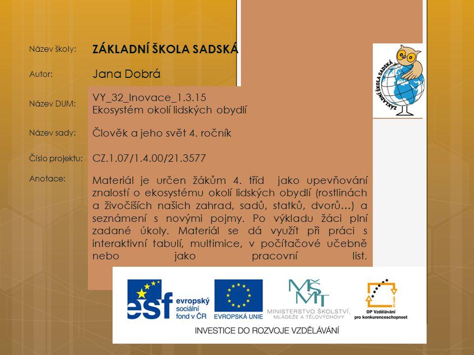 ZÁKLADNÍ ŠKOLA SADSKÁ Jana Dobrá VY_32_Inovace_1.3.15