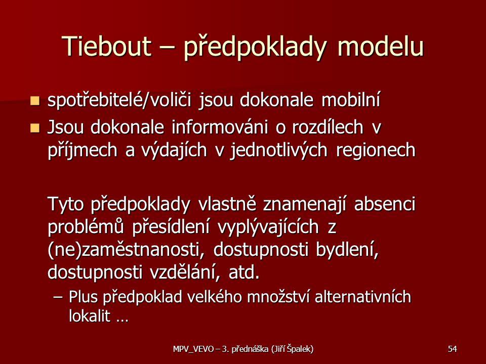 Tiebout – předpoklady modelu