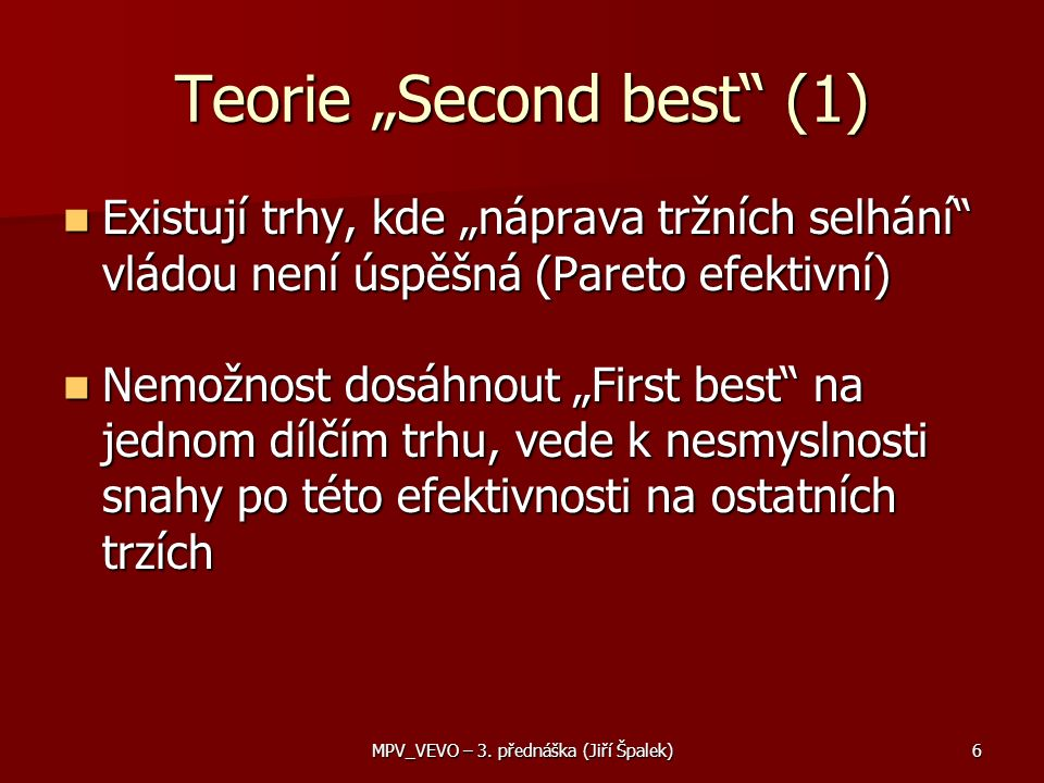 "Teorie ""Second best (1)"