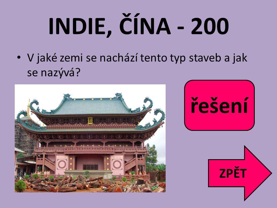 INDIE, ČÍNA - 200 řešení Čína pagoda ZPĚT