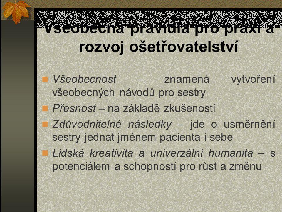 Všeobecná pravidla pro praxi a rozvoj ošetřovatelství